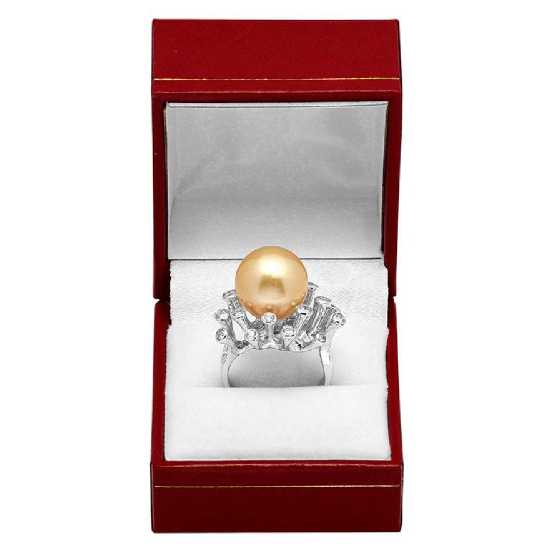 14k White Gold 15mm Pearl 0.41ct Diamond Ring - 3