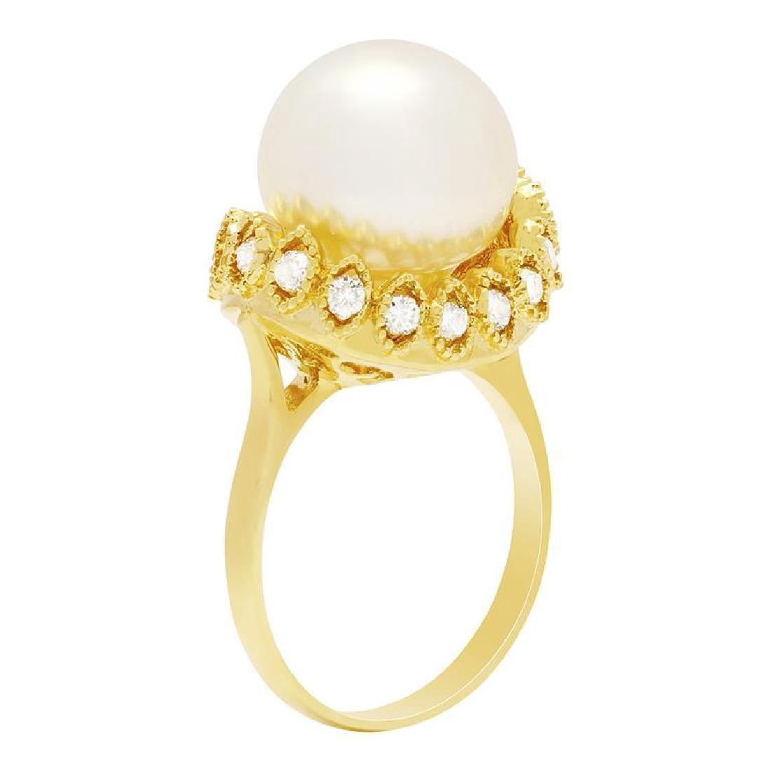 14k Yellow Gold 13mm Pearl 0.65ct Diamond Ring - 2