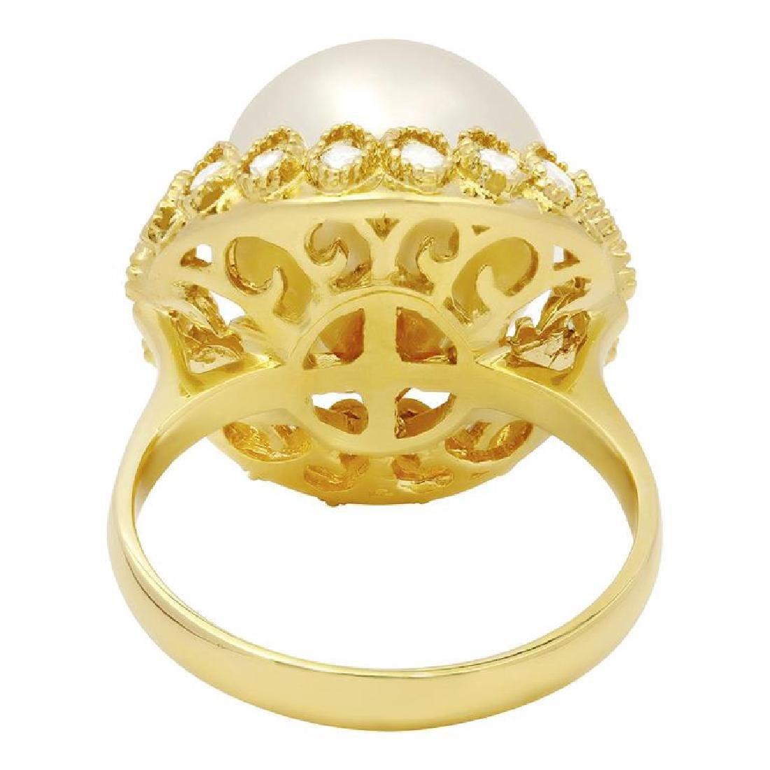 14k Yellow Gold 13mm Pearl 0.65ct Diamond Ring - 3