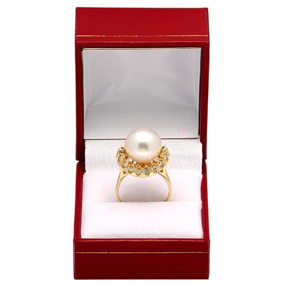 14k Yellow Gold 13mm Pearl 0.65ct Diamond Ring - 4