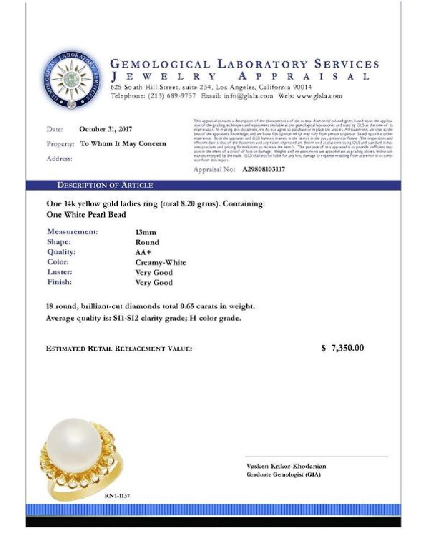 14k Yellow Gold 13mm Pearl 0.65ct Diamond Ring - 5
