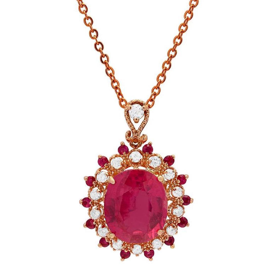 14k Rose Gold 7.55ct 0.44ct Ruby 0.47ct Diamond Pendant