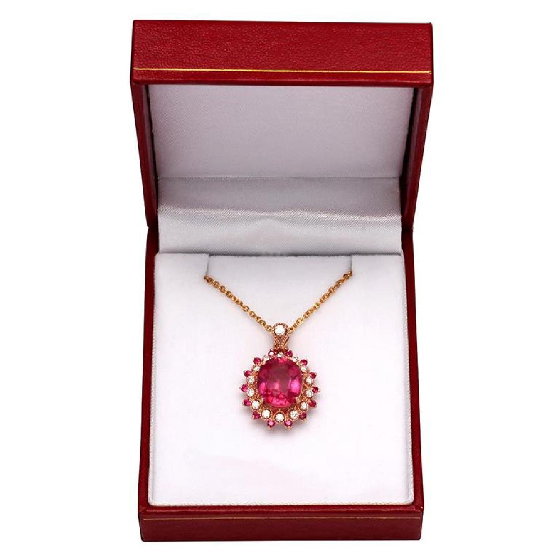 14k Rose Gold 7.55ct 0.44ct Ruby 0.47ct Diamond Pendant - 3