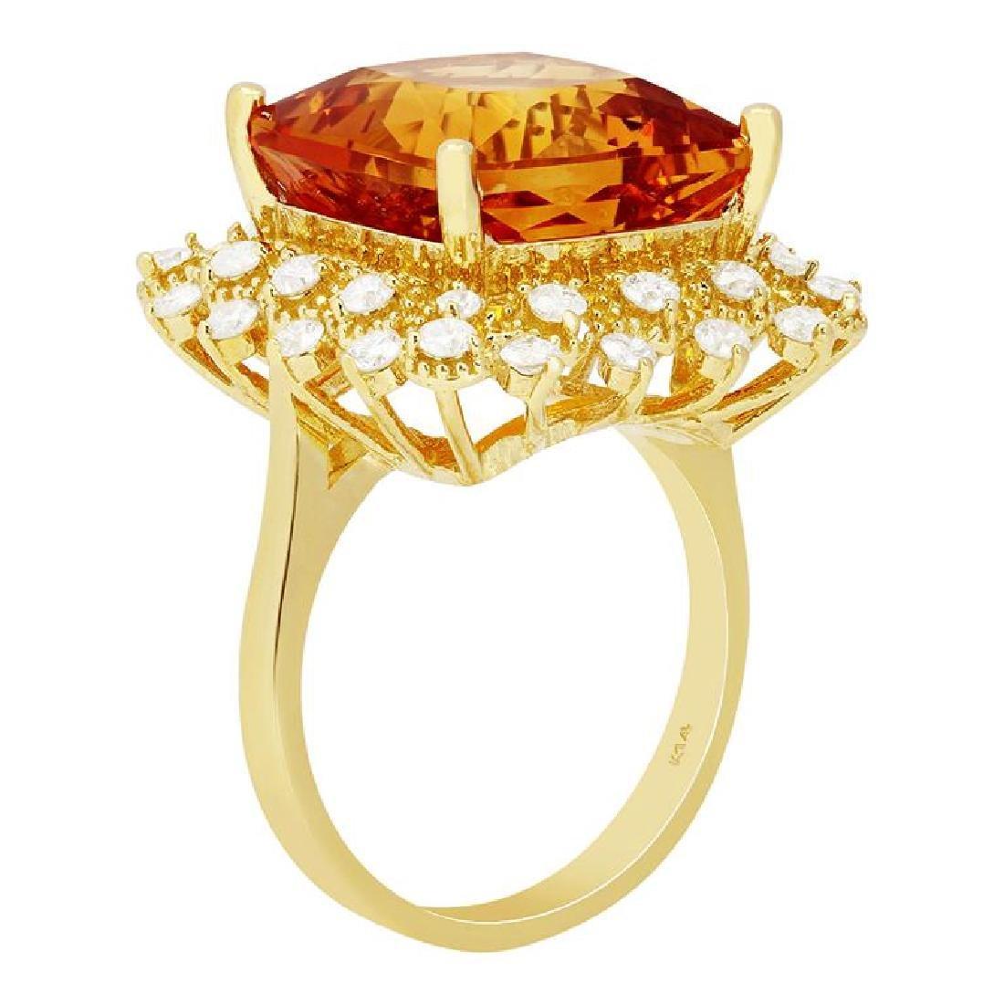 14k Yellow Gold 10.58ct Citrine 0.97ct Diamond Ring - 2