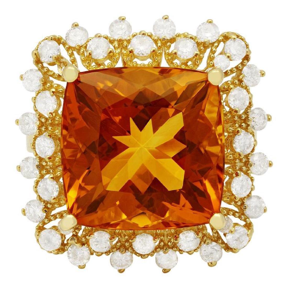14k Yellow Gold 10.58ct Citrine 0.97ct Diamond Ring - 3