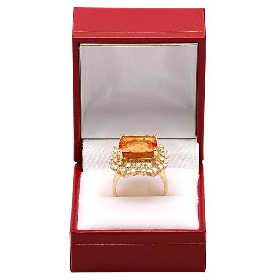 14k Yellow Gold 10.58ct Citrine 0.97ct Diamond Ring - 4