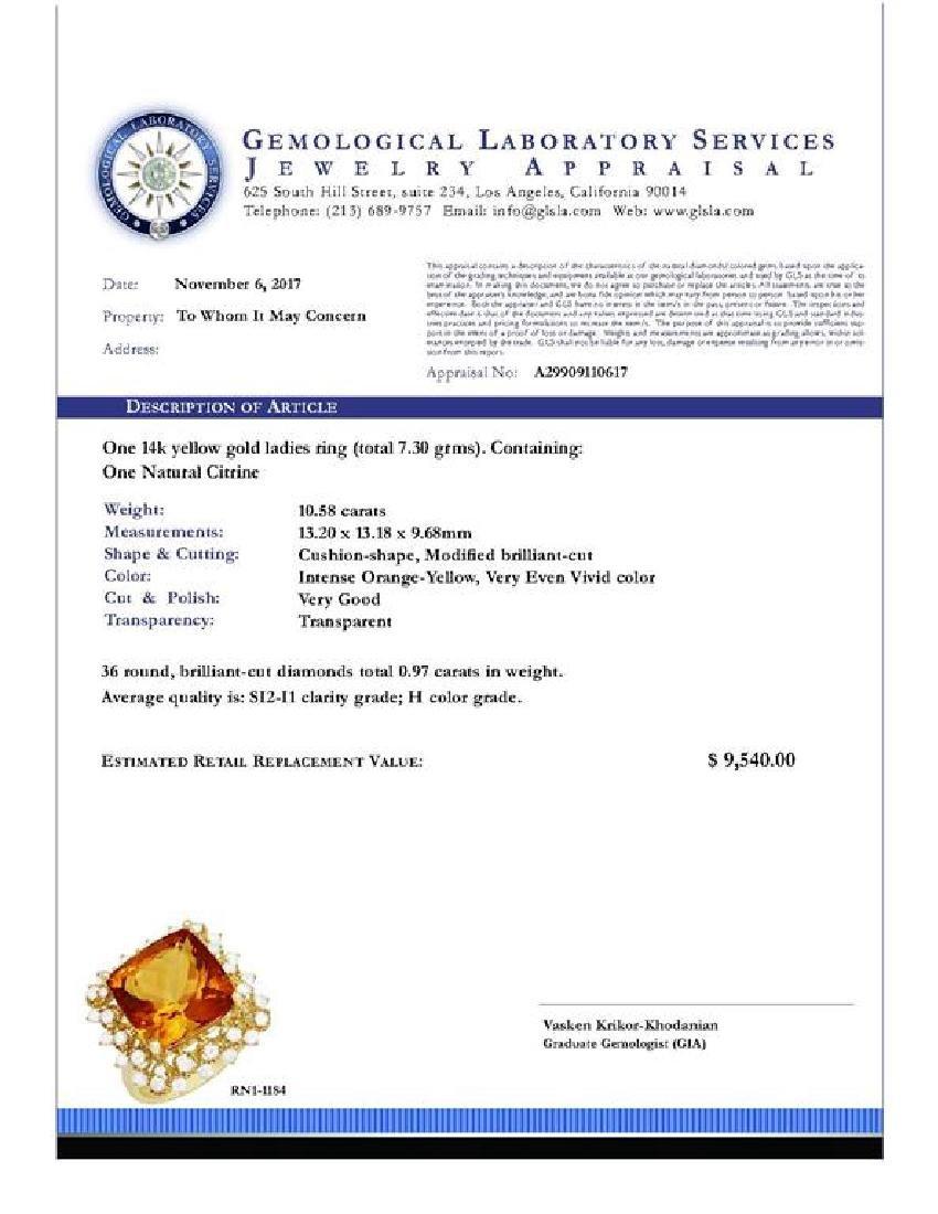 14k Yellow Gold 10.58ct Citrine 0.97ct Diamond Ring - 5