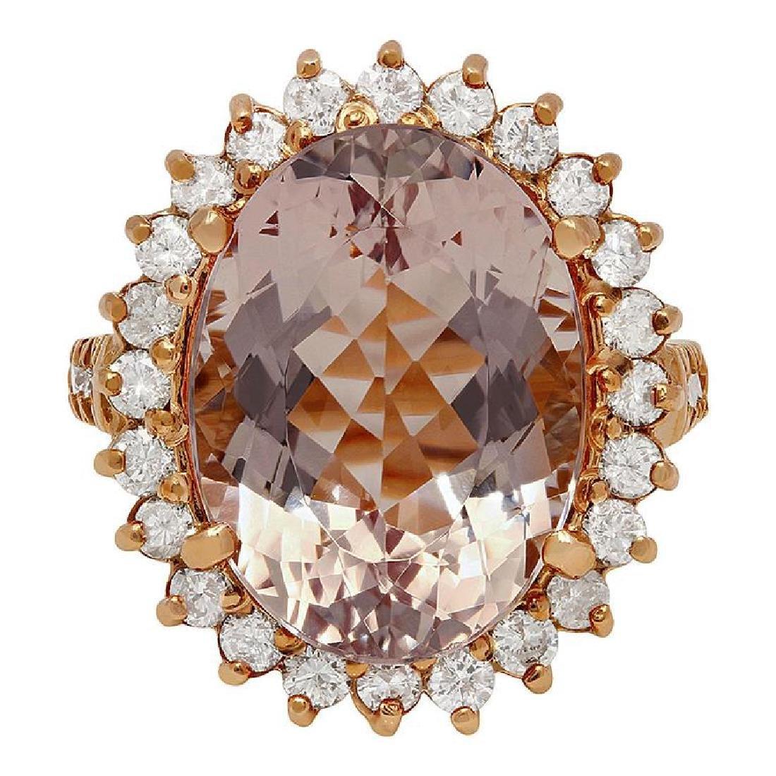 14k Rose Gold 10.96ct Kunzite 1.82ct Diamond Ring - 3