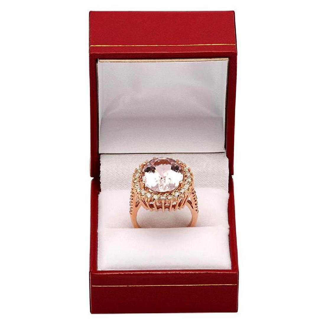 14k Rose Gold 10.96ct Kunzite 1.82ct Diamond Ring - 4