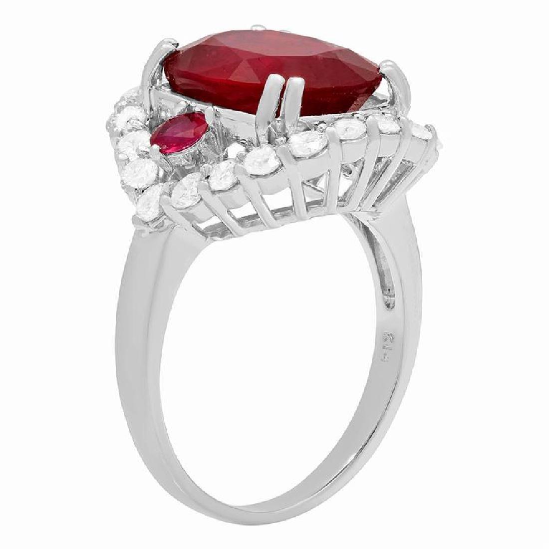 14k White Gold 7.00ct & 0.40ct Ruby 1.22ct Diamond Ring - 2