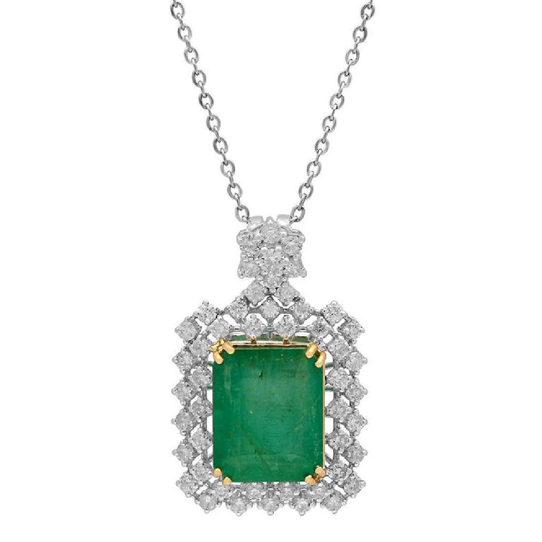 14k White Gold 9.41ct Emerald 1.96ct Diamond Pendant