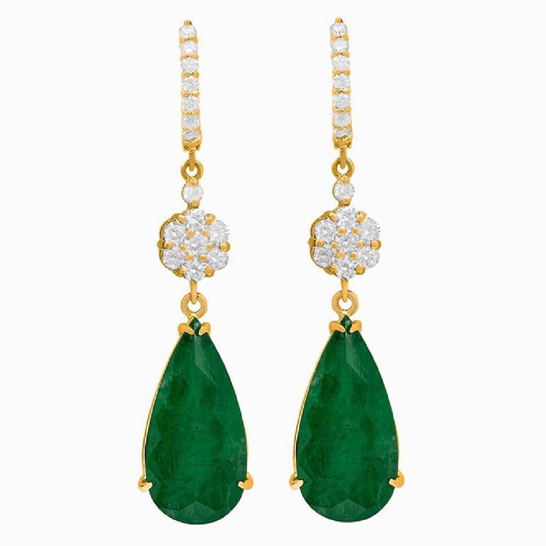 14k Yellow Gold 19.94ct Emerald 2.11ct Diamond Earrings