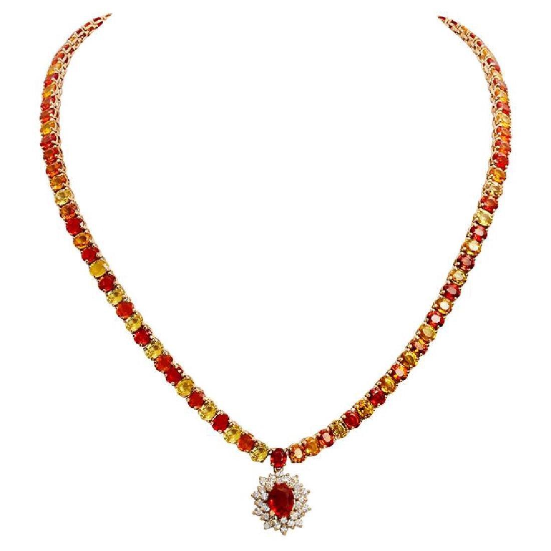14k Yellow Gold 46.01ct Sapphire 1.32ct Diamond