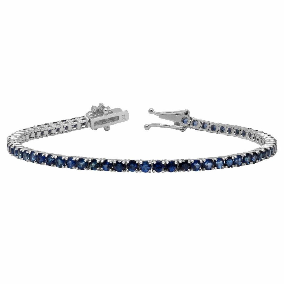 14k White Gold 5.12ct Sapphire 0.45ct Diamond Bracelet