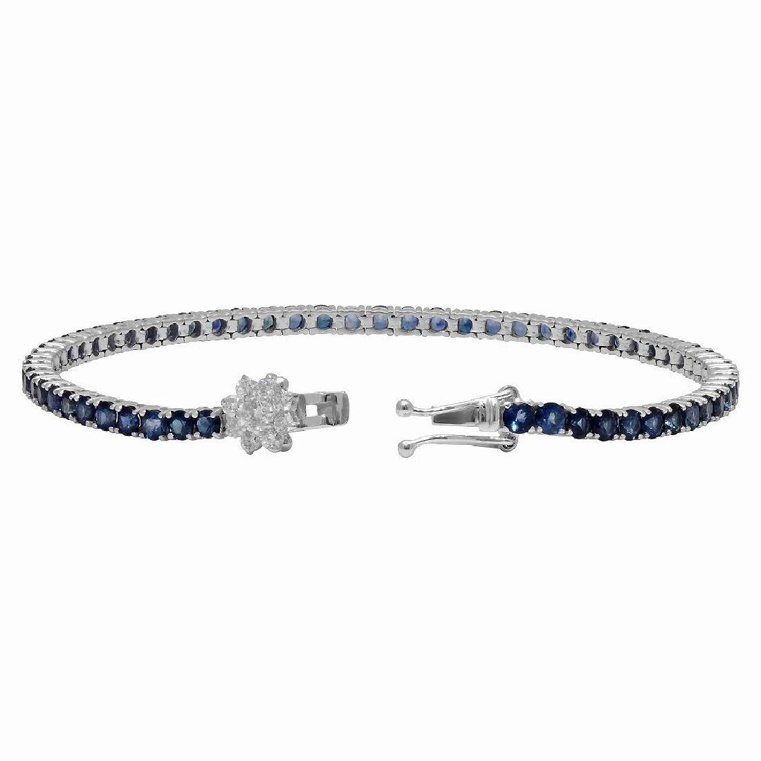 14k White Gold 5.12ct Sapphire 0.45ct Diamond Bracelet - 2