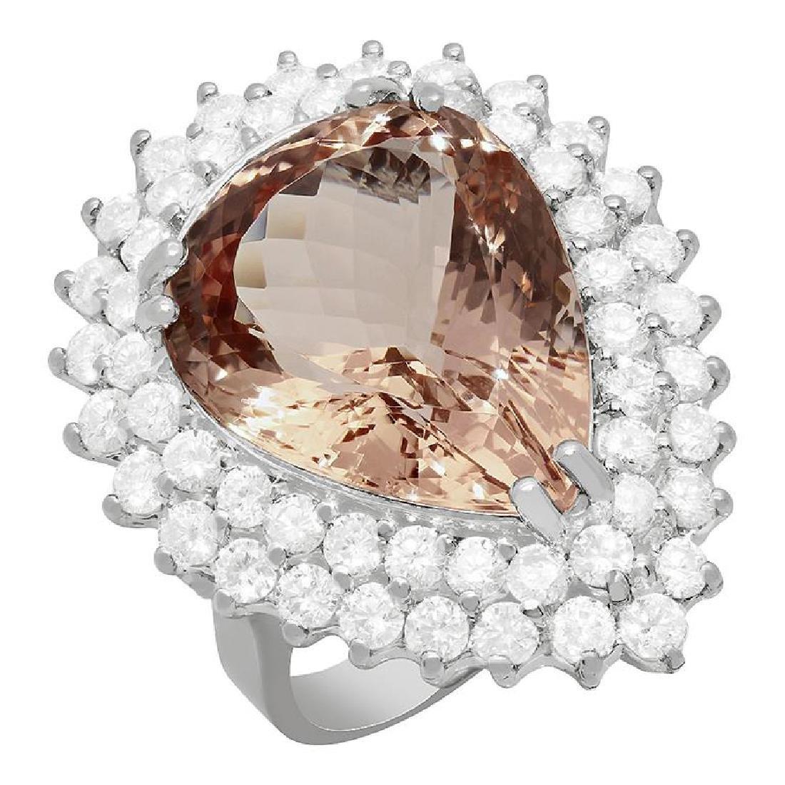 14k White Gold 12.42ct Morganite 2.69ct Diamond Ring