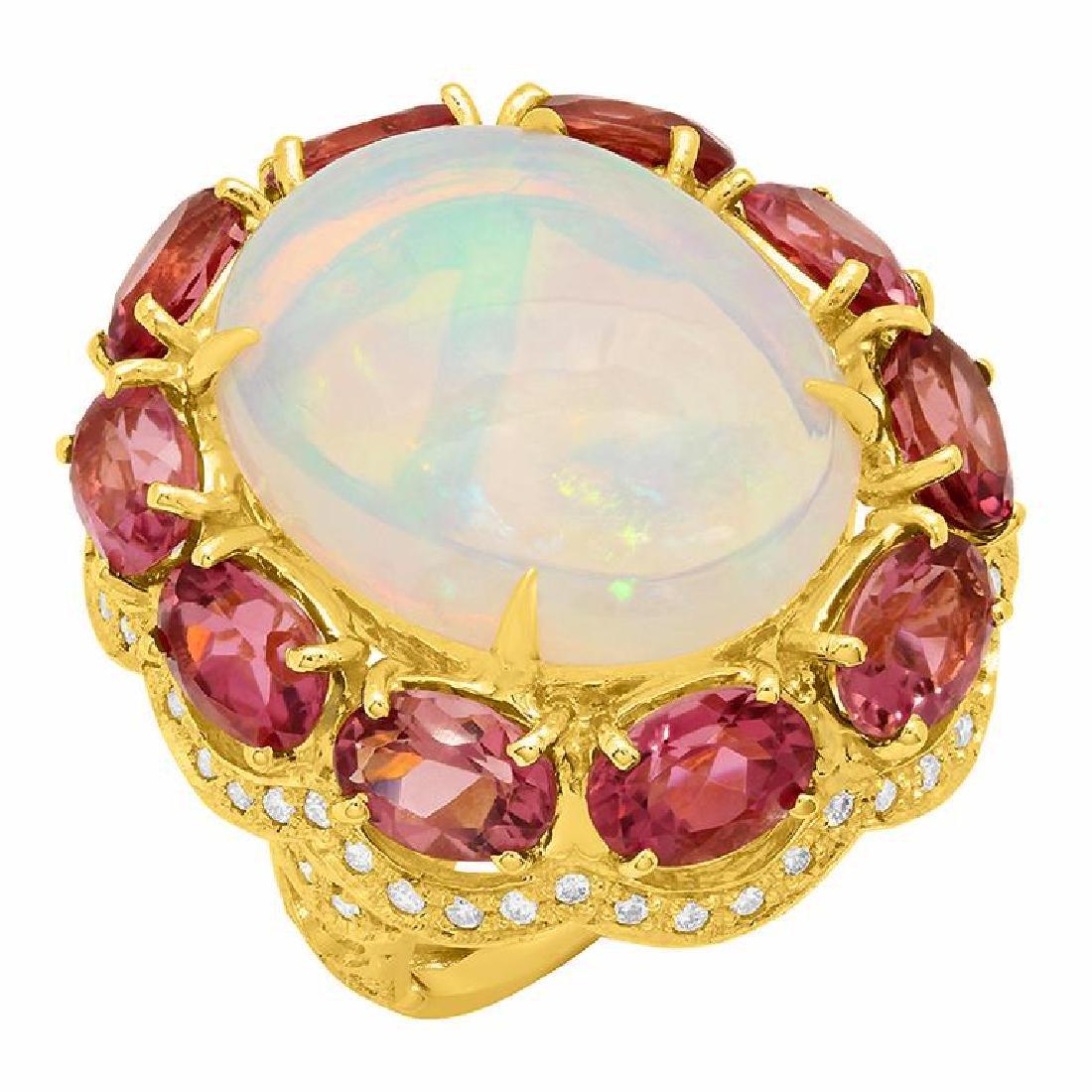 14k Yellow Gold 10.52ct Ethiopian Opal 8.67ct Pink