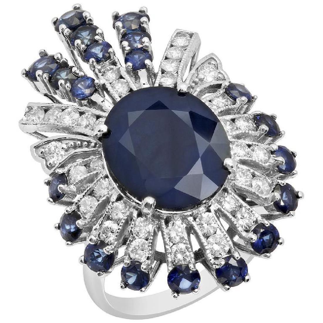 14k White Gold 7.09ct & 2.85ct Sapphire 1.31ct Diamond