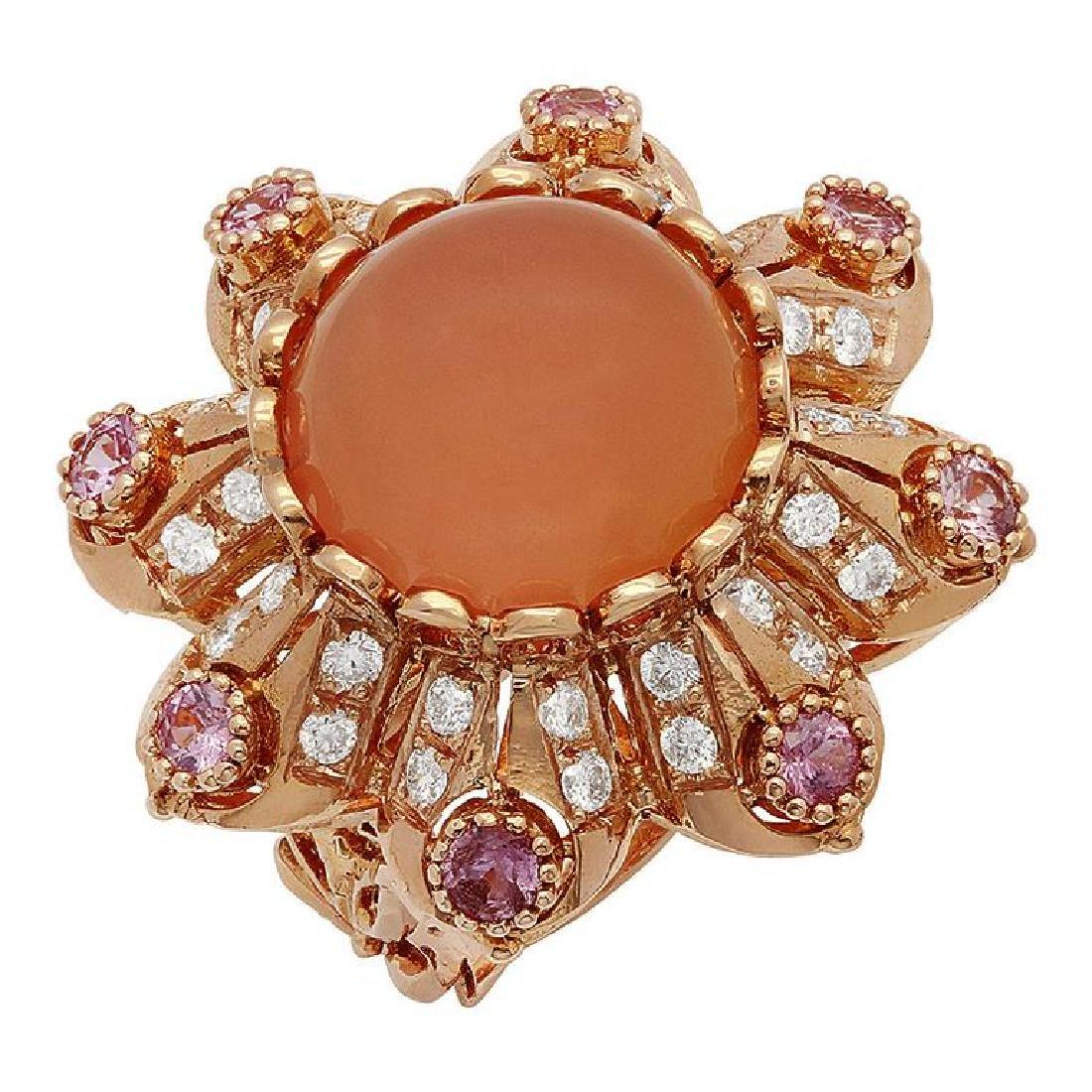 14k Rose Gold 15.40ct Rose Quartz 1.25ct Pink Sapphire