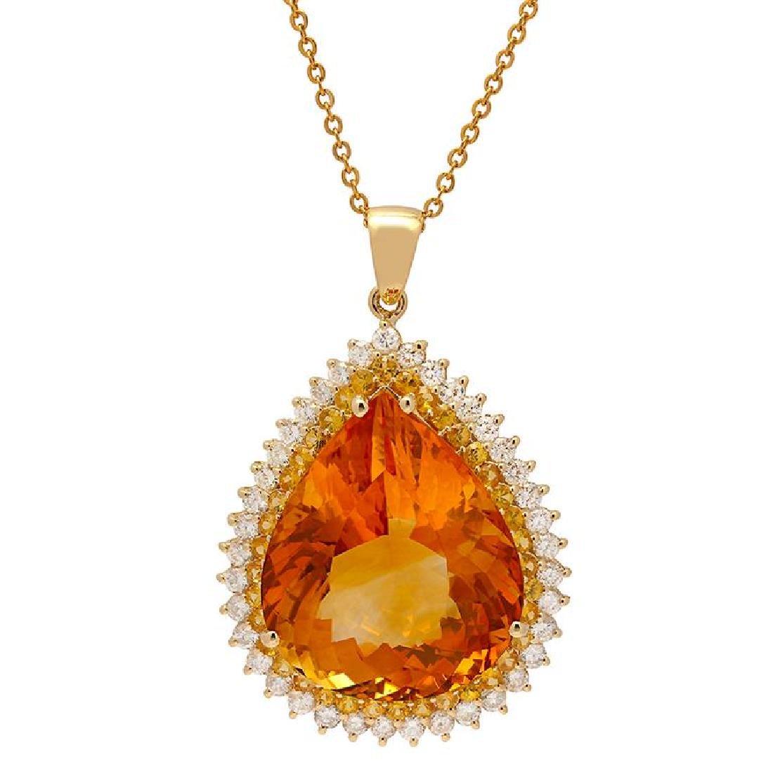 14k Yellow Gold 37.73ct Citrine 1.67ct Yellow Sapphire