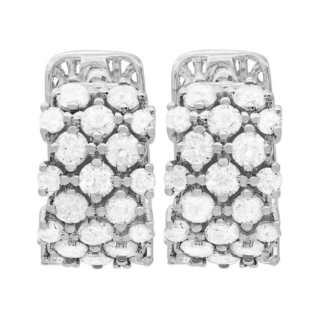 14k White Gold 2.98ct Diamond Earrings