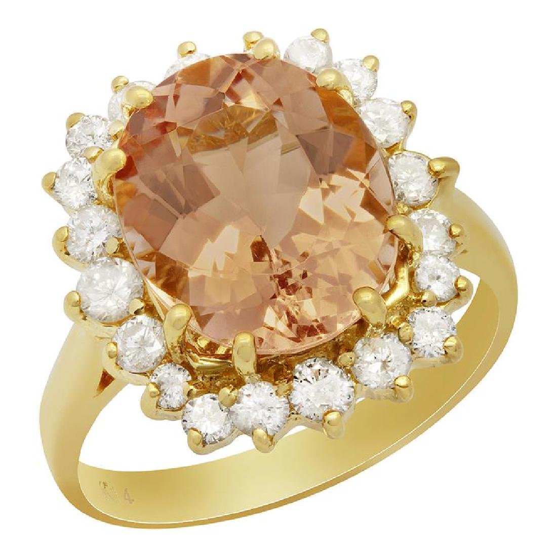 14k Yellow Gold 4.55ct Morganite 0.85ct Diamond Ring