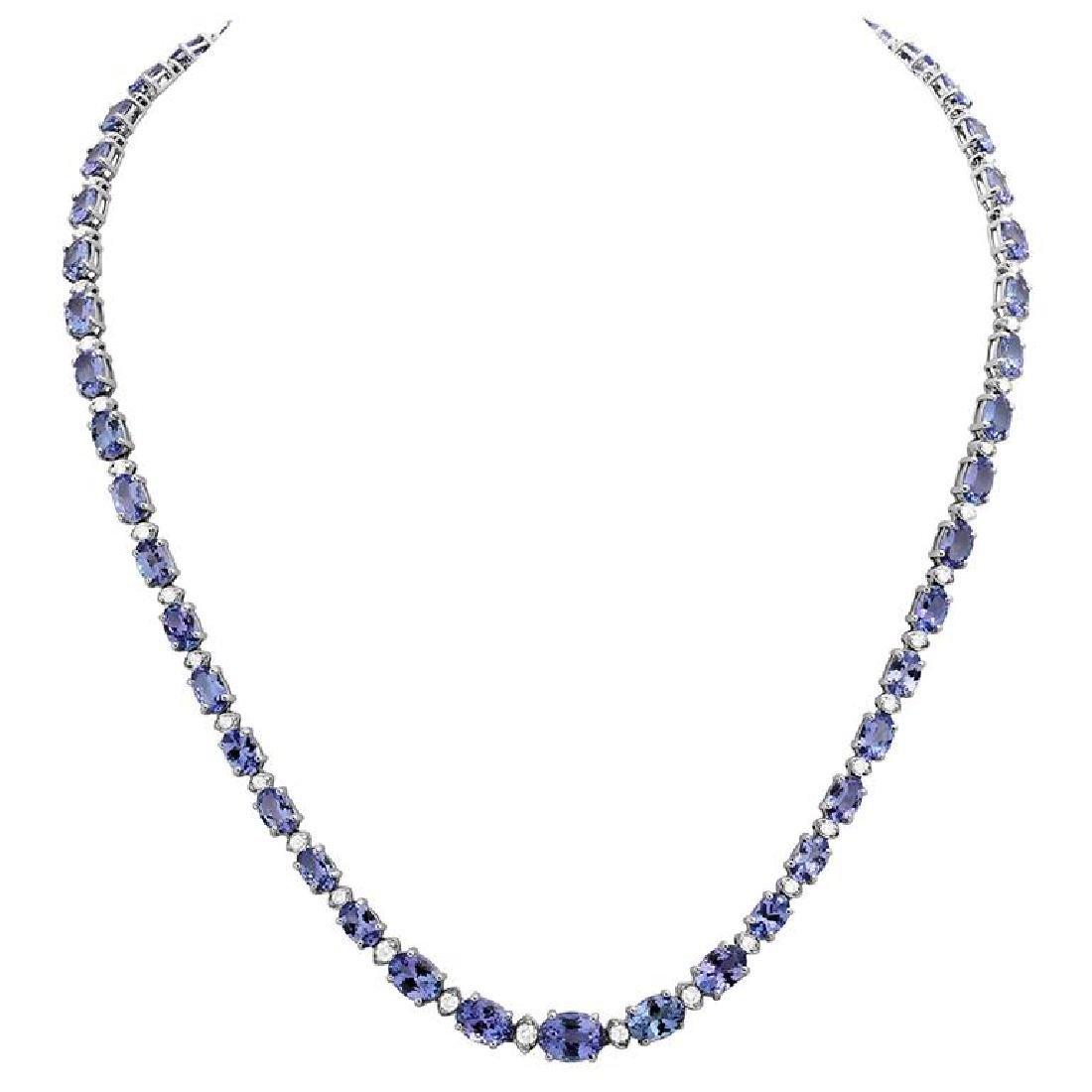 14k White Gold 23.93ct Tanzanite 1.14ct Diamond