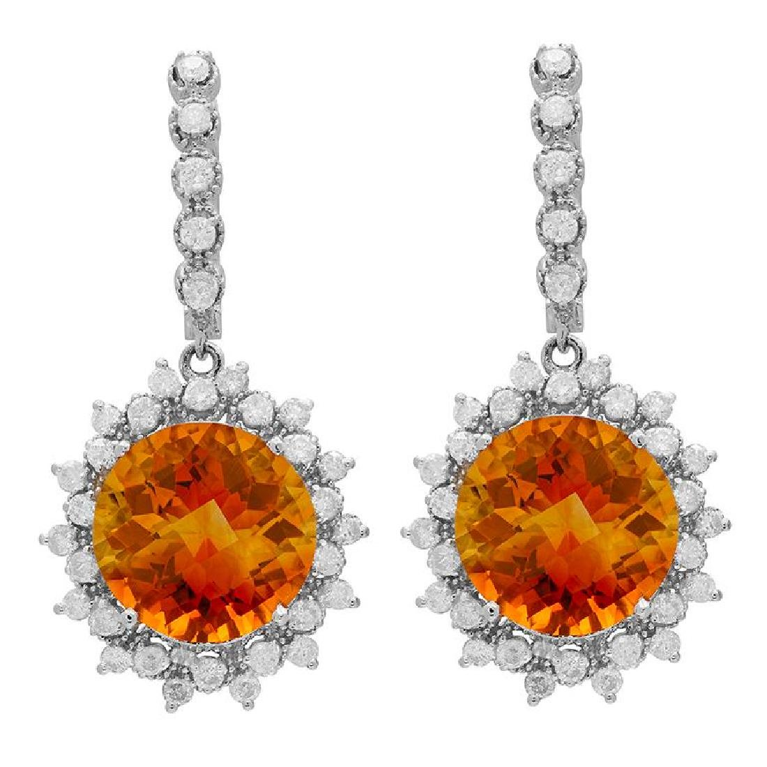 14k White Gold 12.62ct Citrine 2.12ct Diamond Earrings