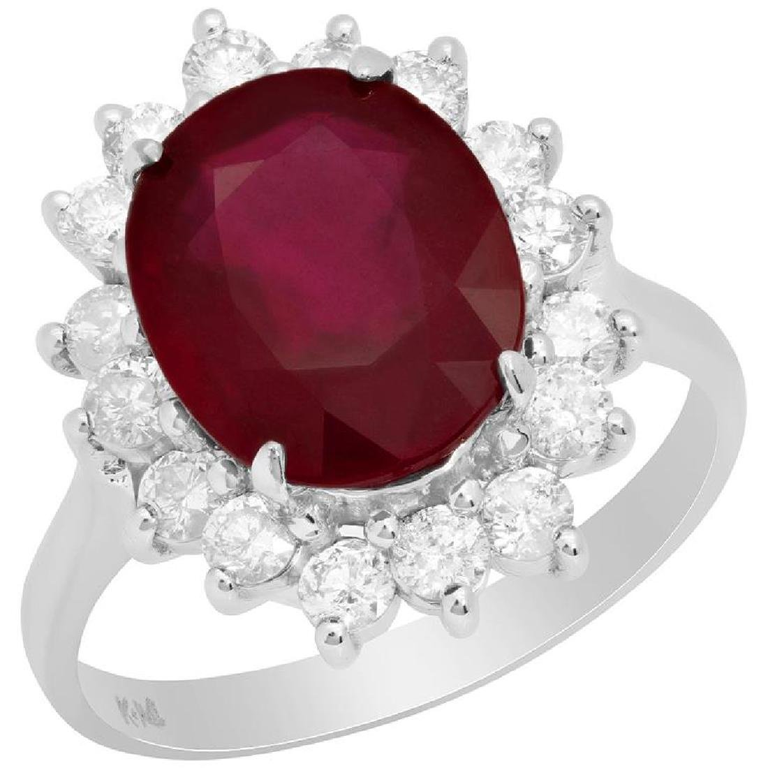 14k White Gold 4.74ct Ruby 0.84ct Diamond Ring