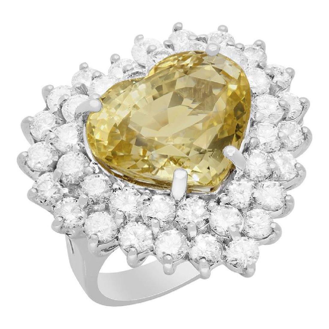14k White Gold 13.18ct Yellow Sapphire 3.79ct Diamond