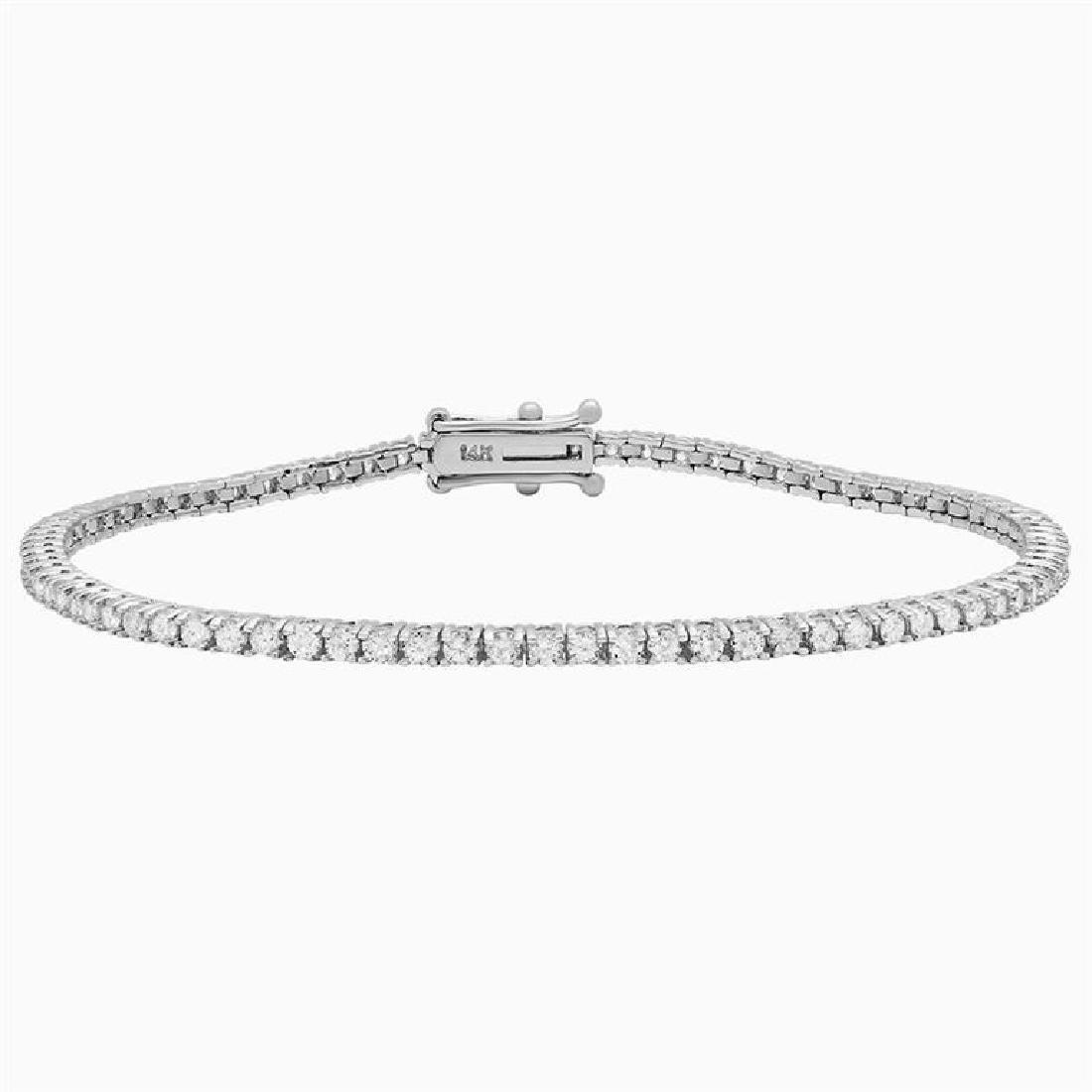 18k White Gold 2.31ct Diamond Tennis Bracelet