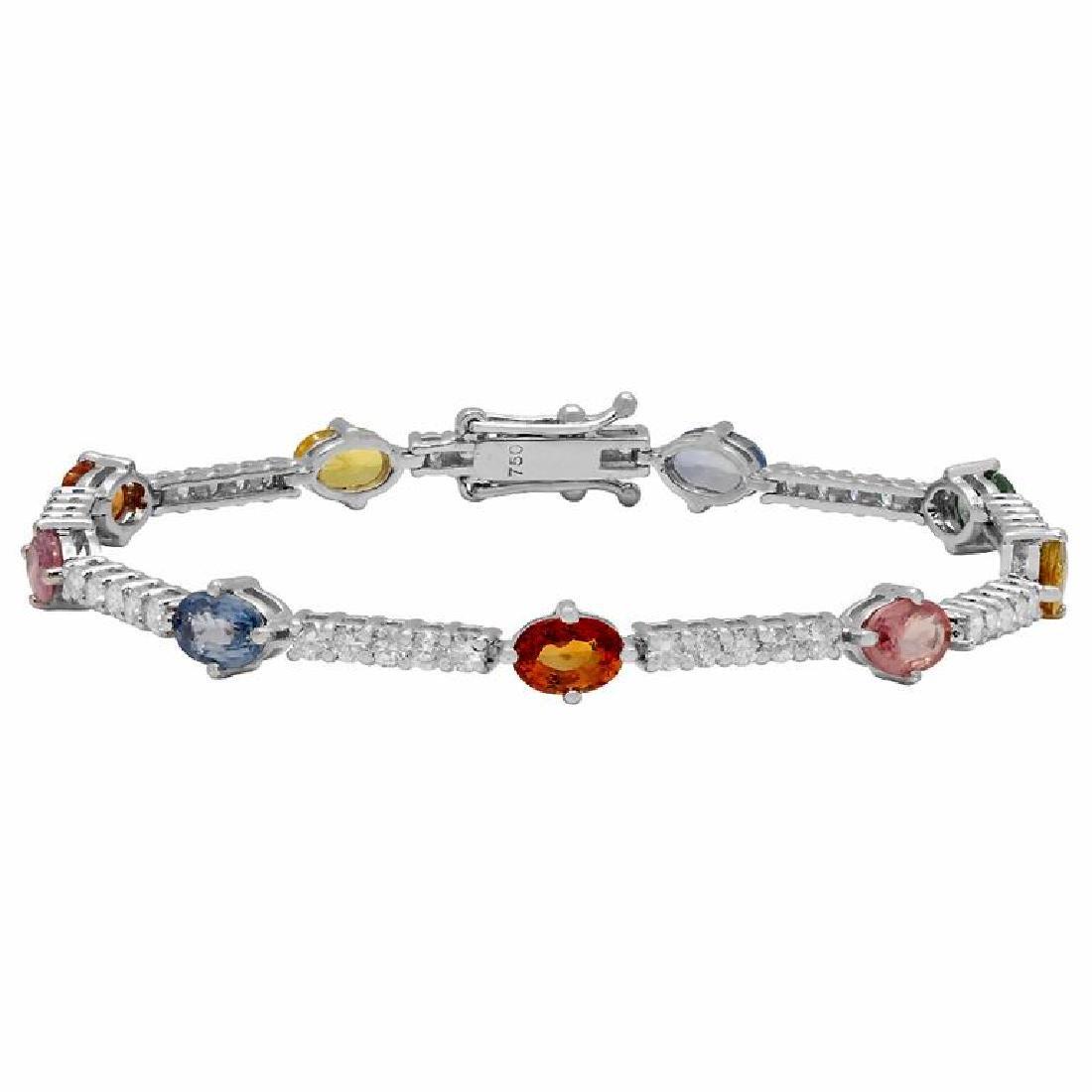 14k White Gold 5.67ct Sapphire 1.74ct Diamond Bracelet