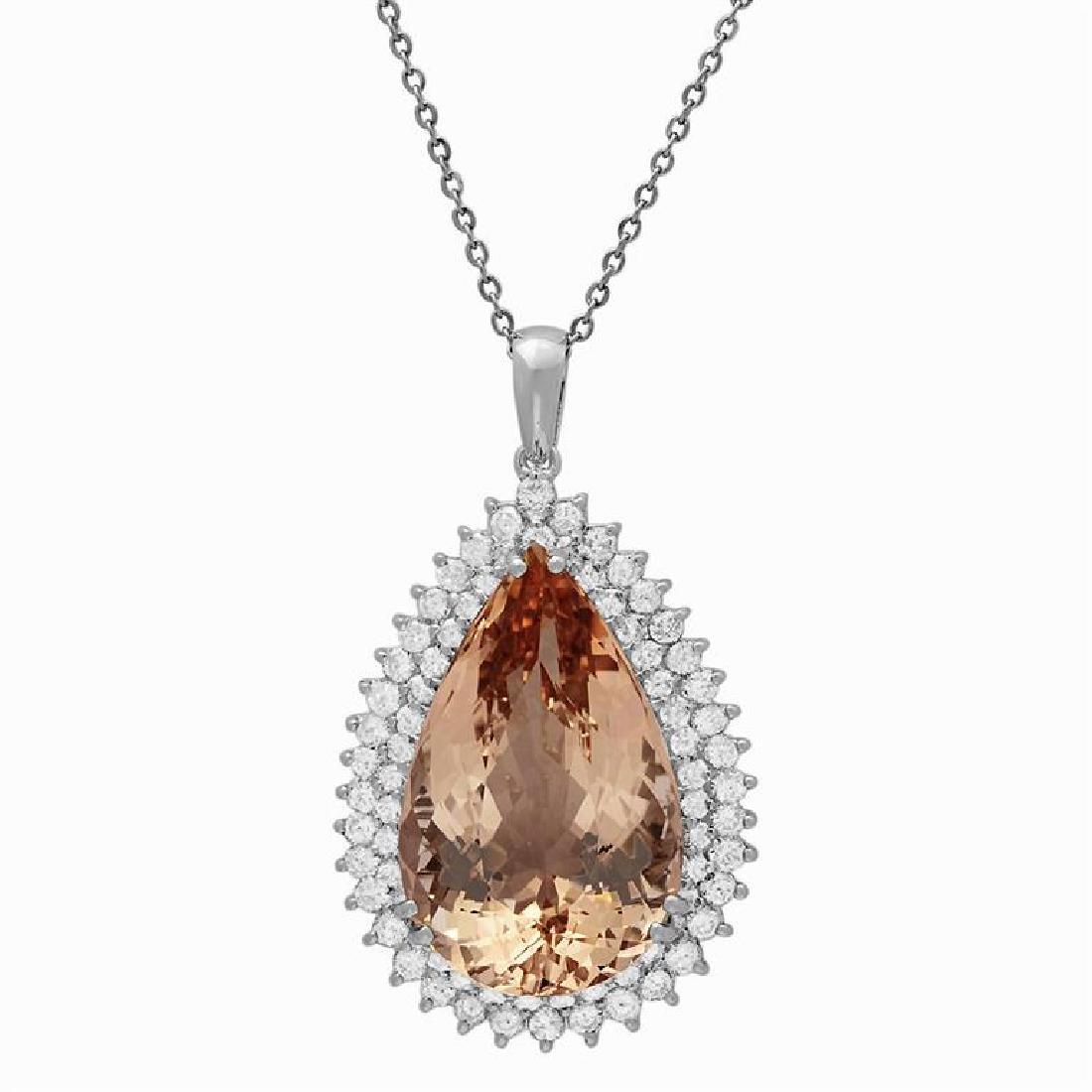 14k White Gold 43.96ct Morganite 3.86ct Diamond Pendant