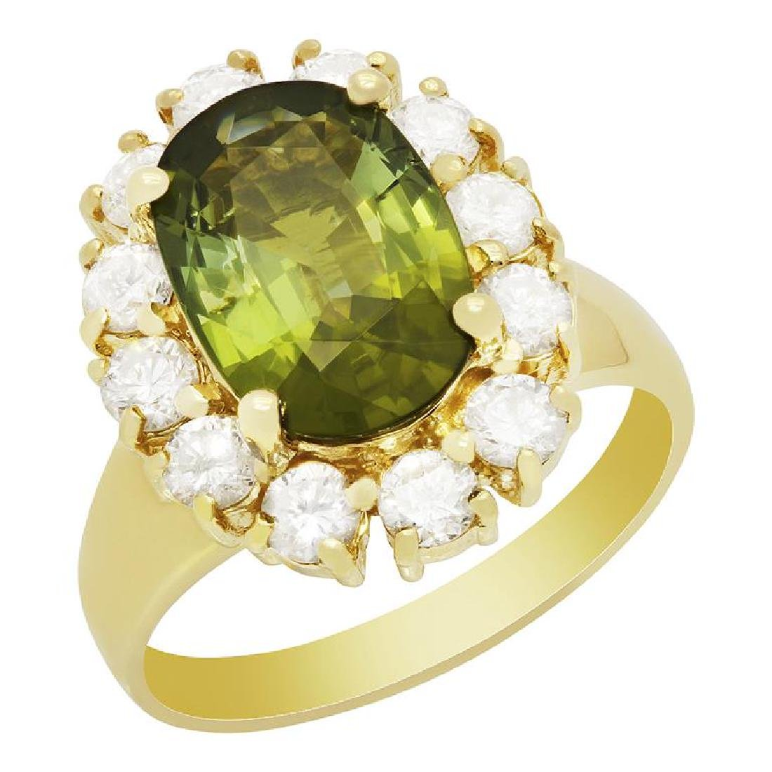 14k Yellow Gold 2.83ct Green Tourmaline 1.14ct Diamond