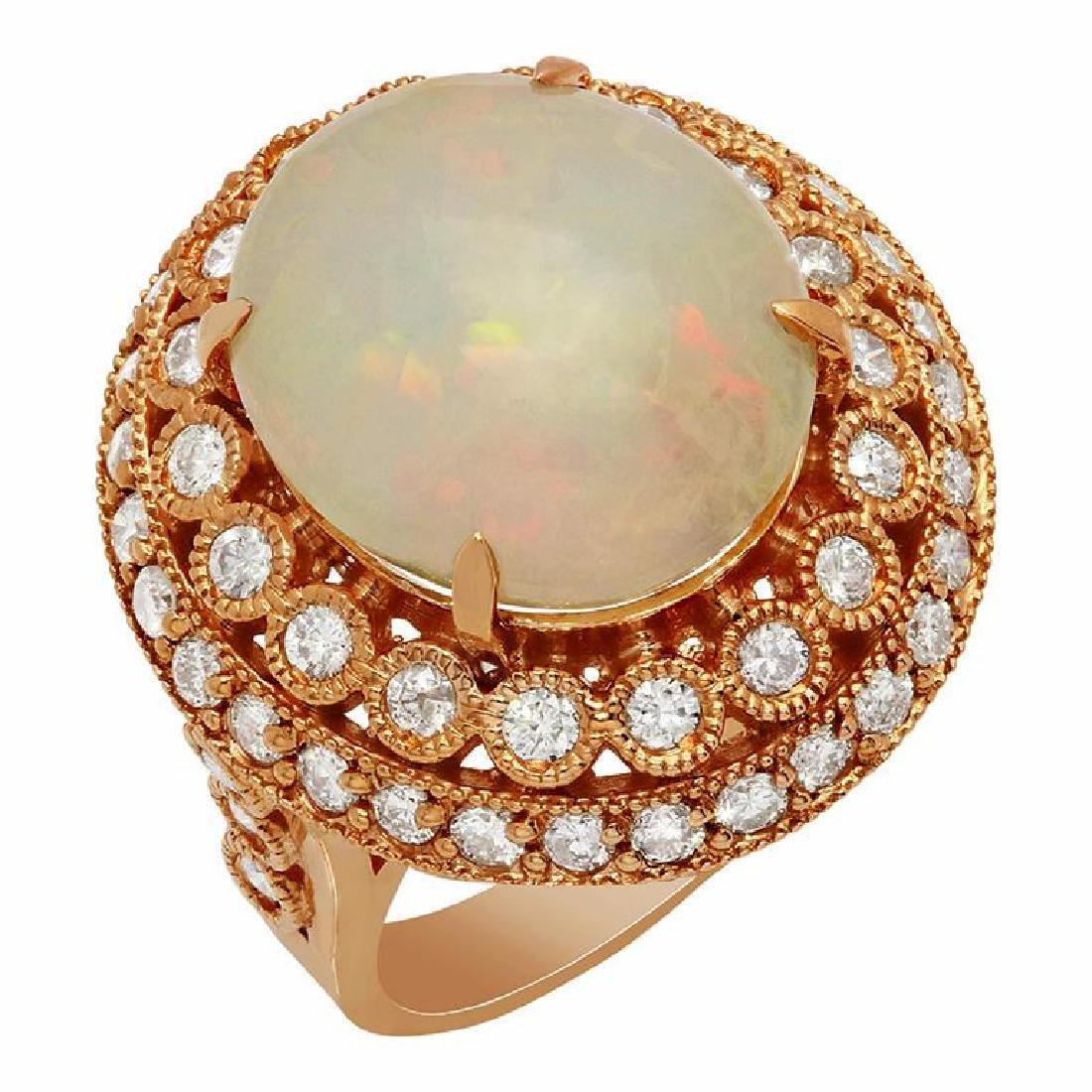 14k Rose Gold 6.62ct Ethiopian Opal 1.57ct Diamond Ring
