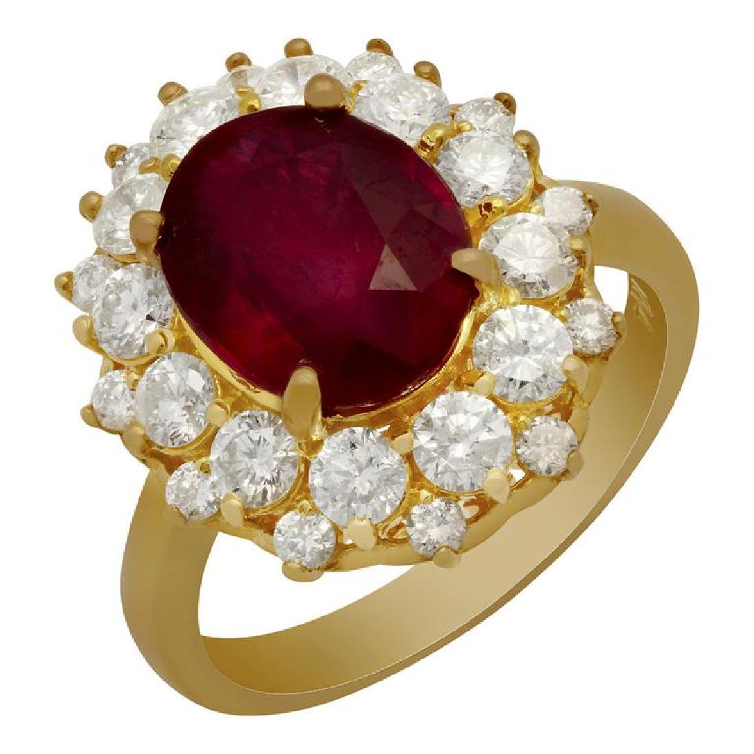 14k Yellow Gold 4.86ct Ruby 1.56ct Diamond Ring