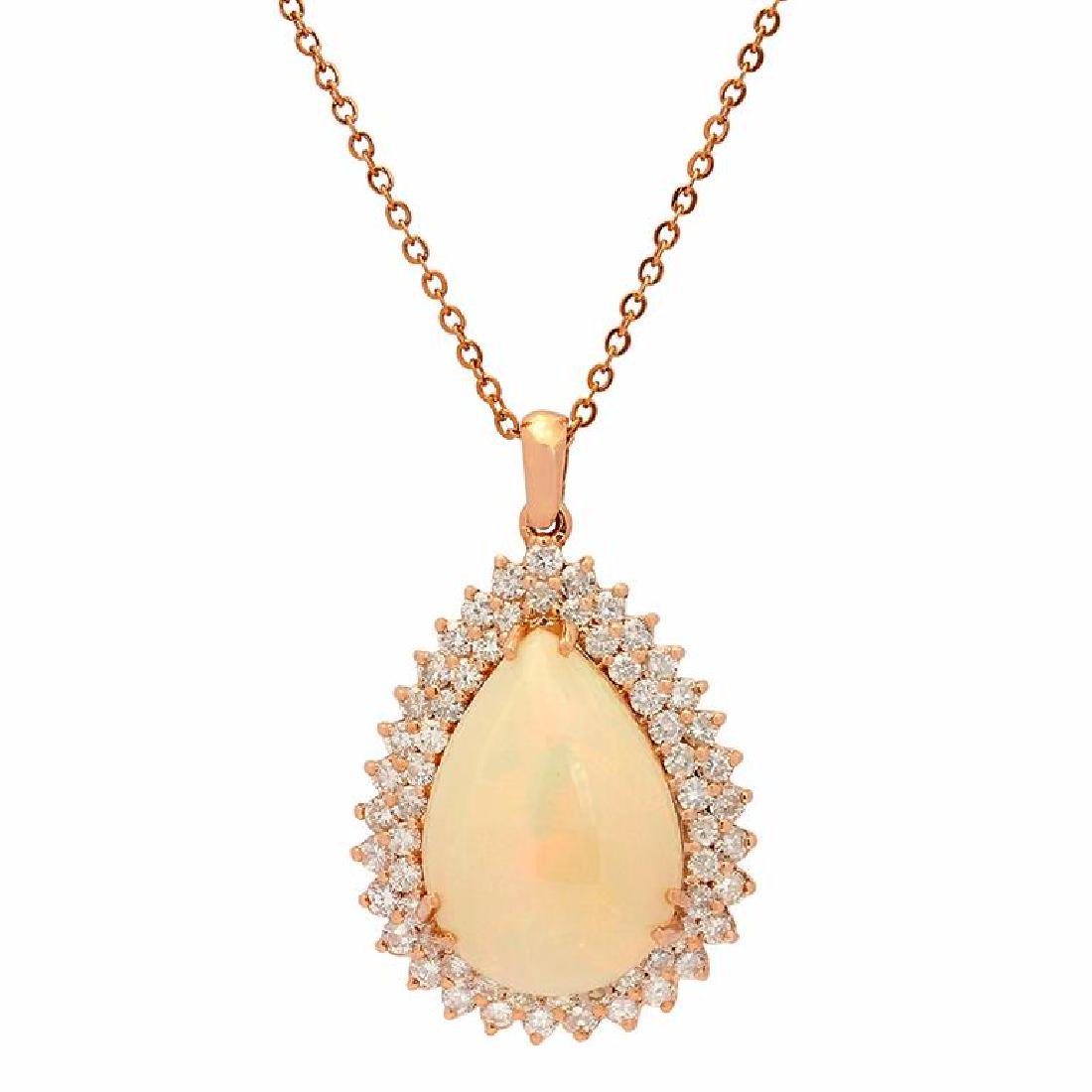14k Rose Gold 13.99ct White Opal 2.41ct Diamond Pendant