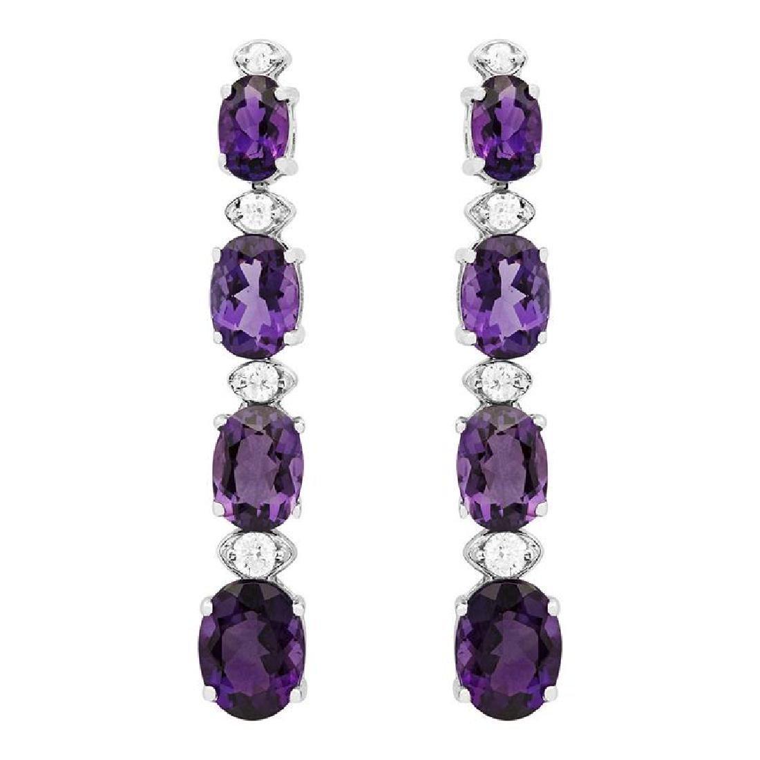 14k White Gold 6.38ct Amethyst 0.34ct Diamond Earrings
