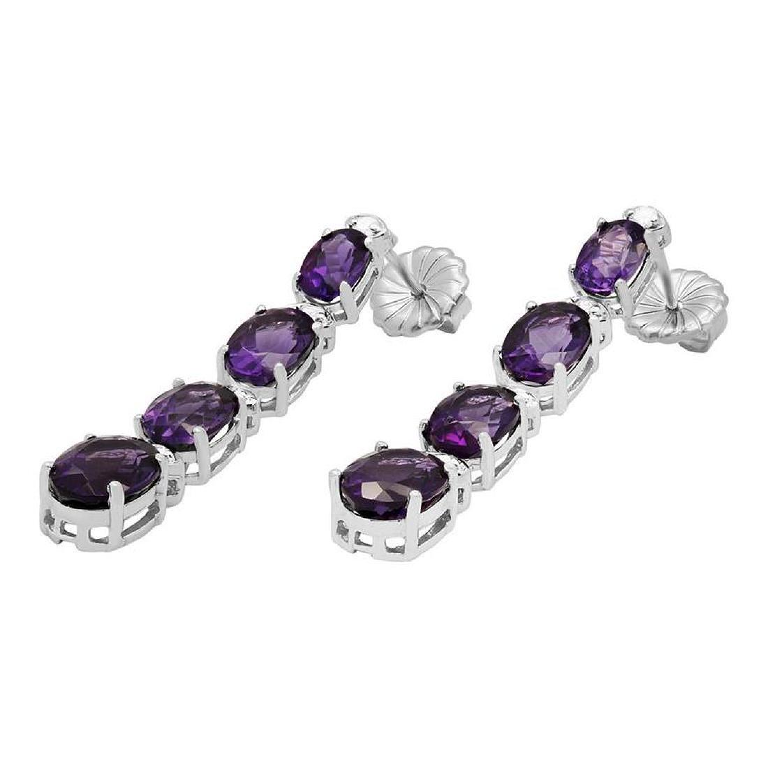14k White Gold 6.38ct Amethyst 0.34ct Diamond Earrings - 2