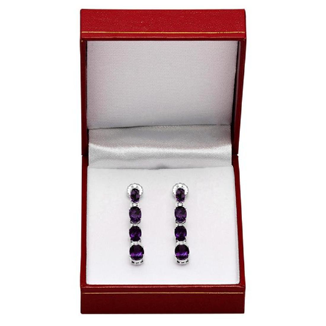 14k White Gold 6.38ct Amethyst 0.34ct Diamond Earrings - 3