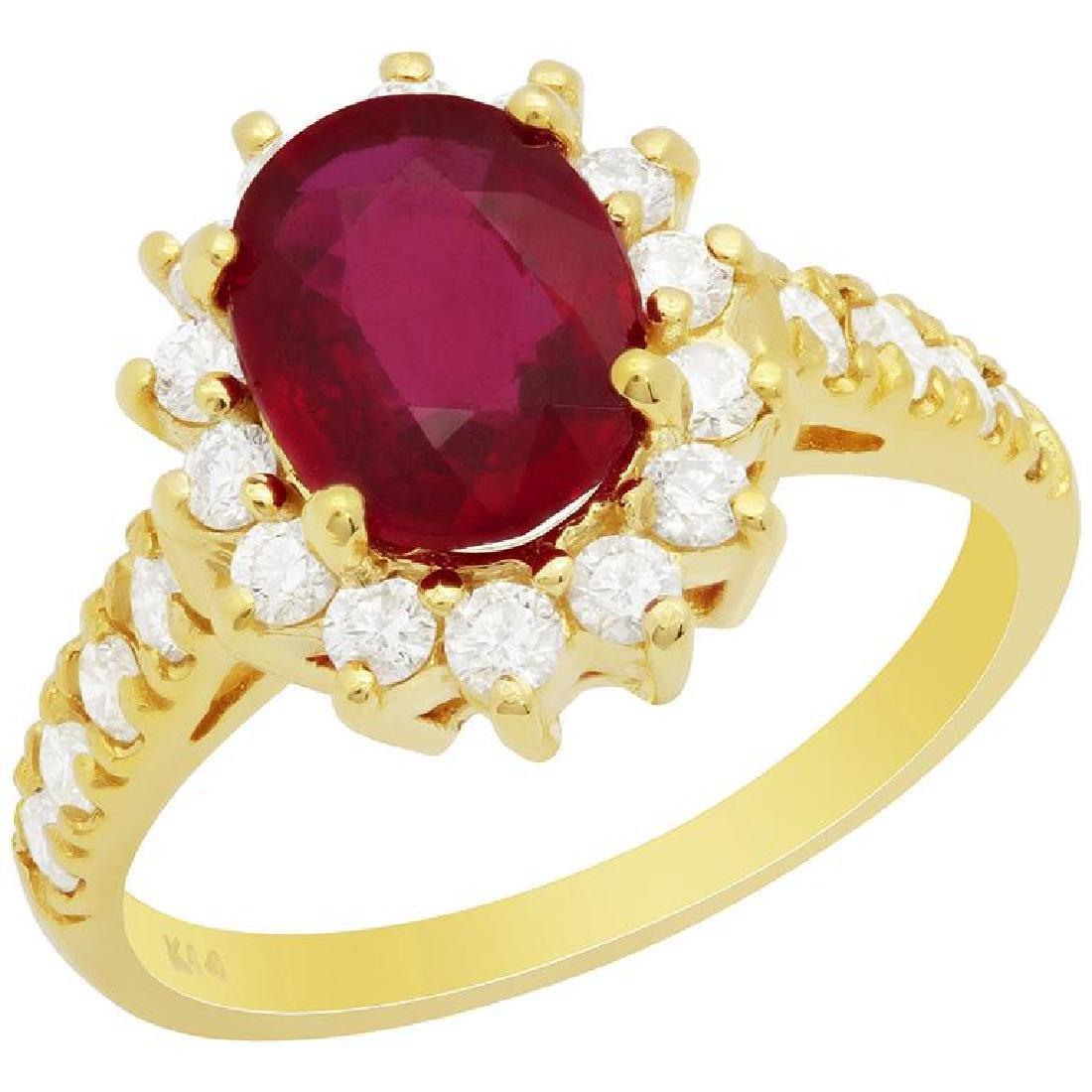 14k Yellow Gold 2.23ct Ruby 0.75ct Diamond Ring