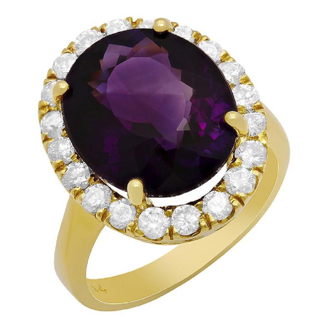 14k Yellow Gold 7.20ct Amethyst 1.09ct Diamond Ring