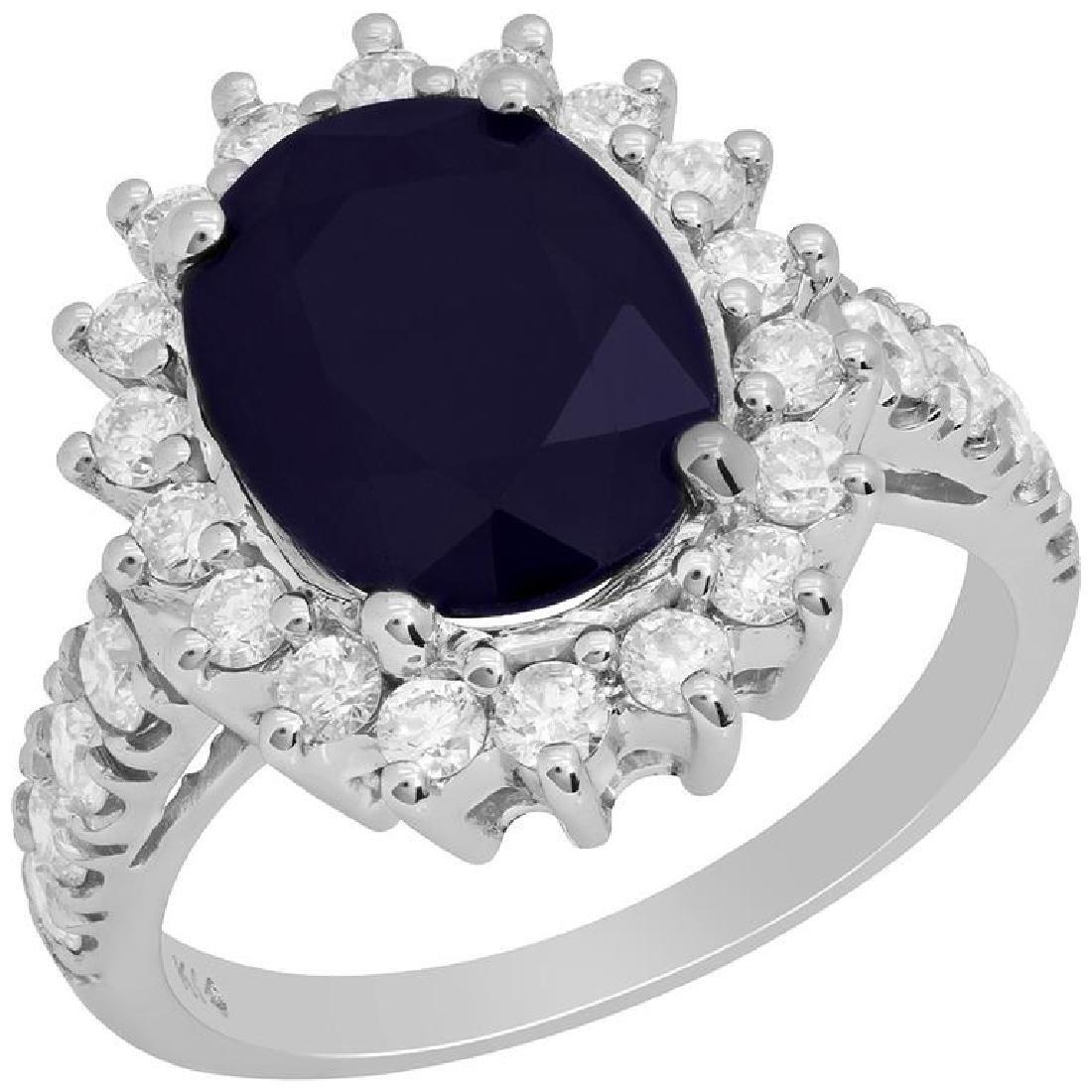 14k White Gold 3.74ct Sapphire 0.91ct Diamond Ring