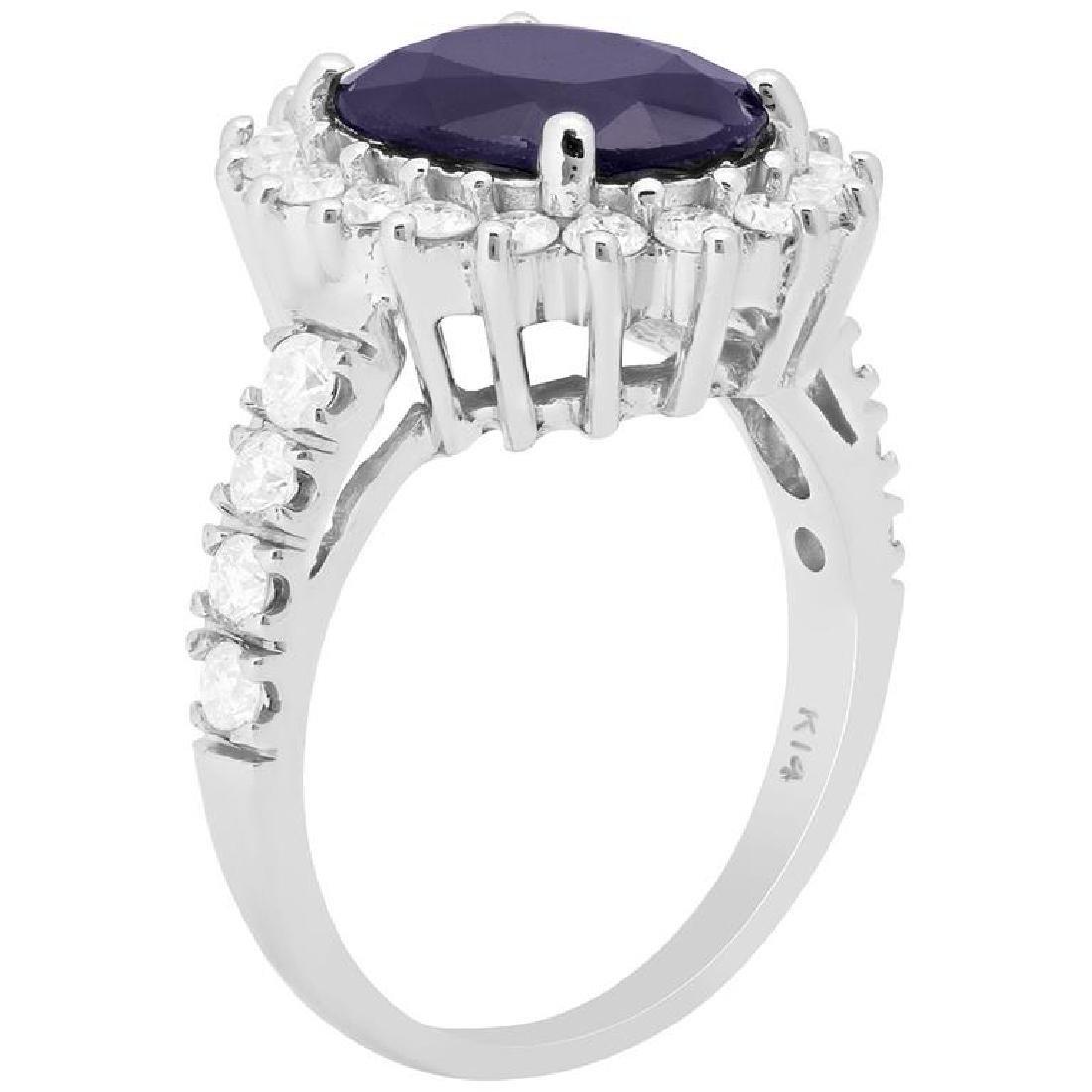14k White Gold 3.74ct Sapphire 0.91ct Diamond Ring - 2