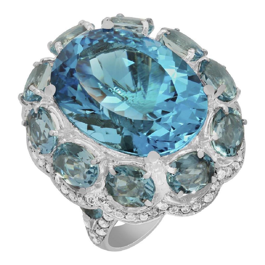 14k White Gold 25.62ct Blue Topaz 14.13ct Aquamarine