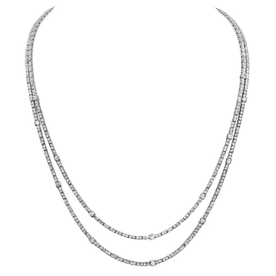 14k White Gold 10.97ct Diamond Necklace