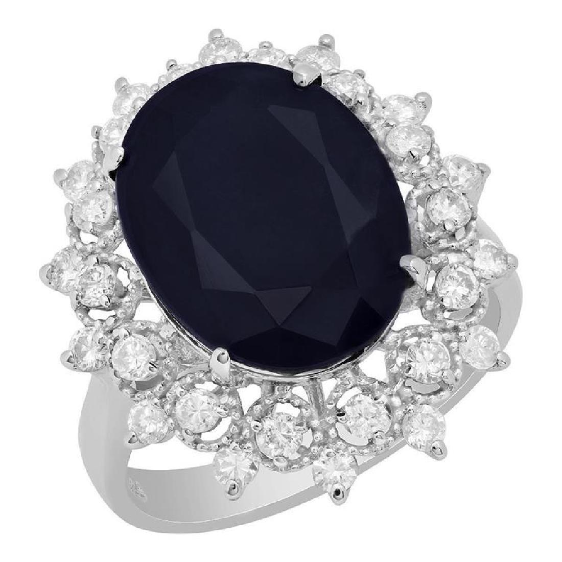 14k White Gold 10.15ct Sapphire 0.75ct Diamond Ring