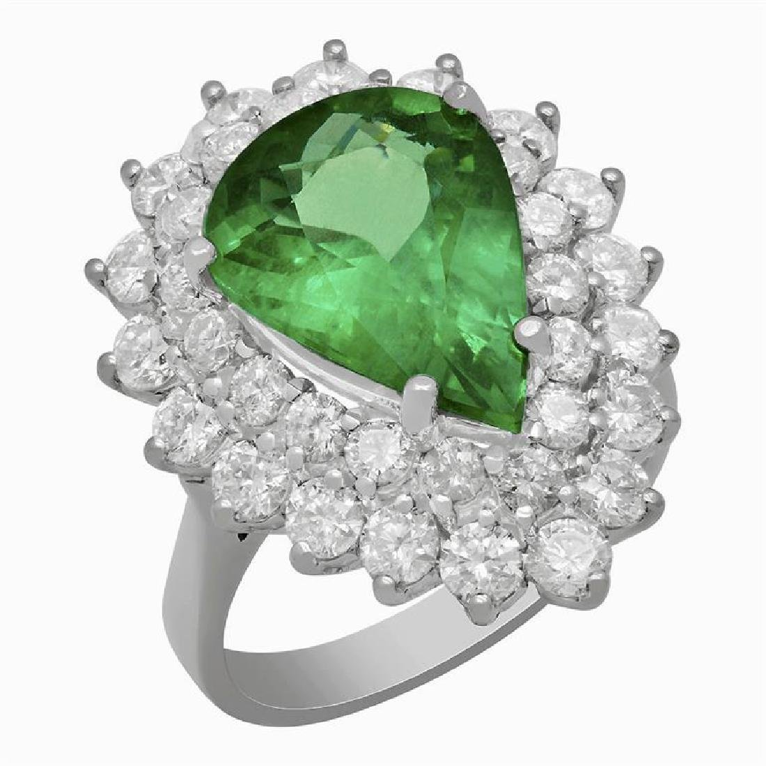 14k White Gold 4.92ct Emerald 2.66ct Diamond Ring