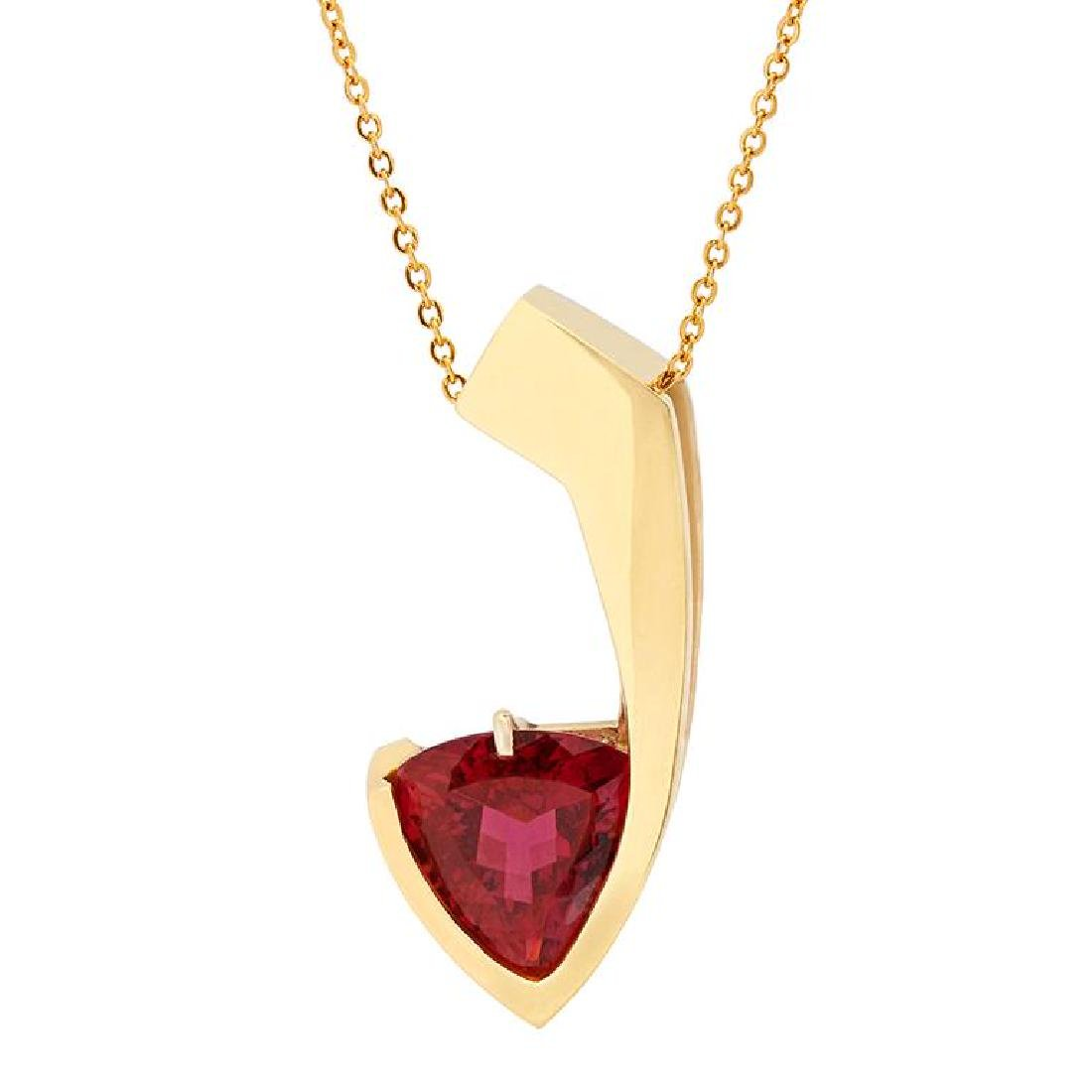 14k Yellow Gold 10.20ct Pink Tourmaline Pendant