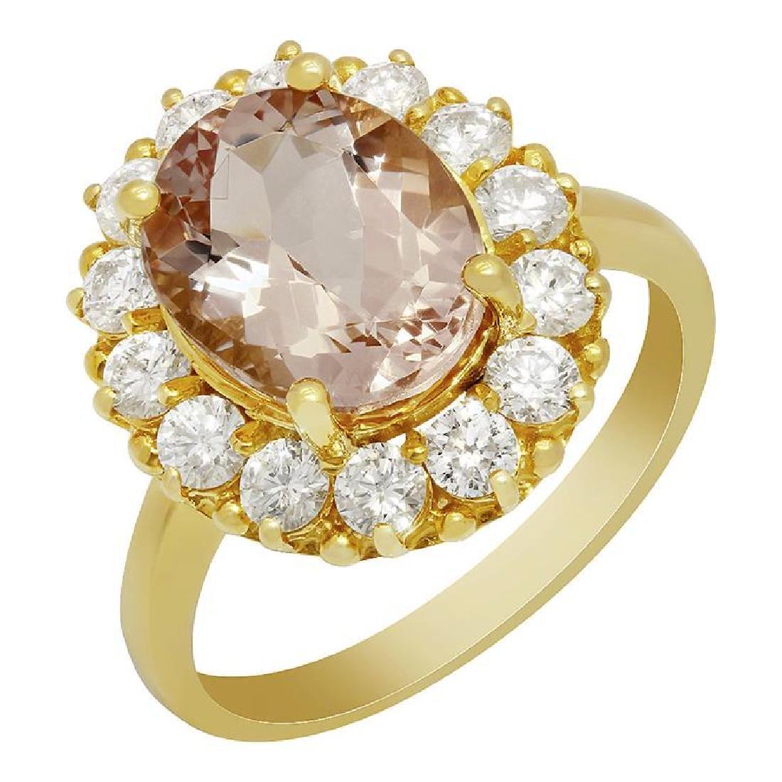 14k Yellow Gold 3.36ct Morganite 1.13ct Diamond Ring